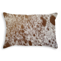 """12"""" x 20"""" Brown and White Cowhide Pillow"""