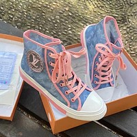 LV Louis Vuitton Fashion casual high top shoes sneakers Pink