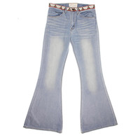 Free People Womens Embroidered High Waist Flare Jeans