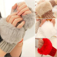 1pair Winter Women Faux Rabbit Fur Warmer Knitted Hand Wrist Fingerless Gloves = 1932691268