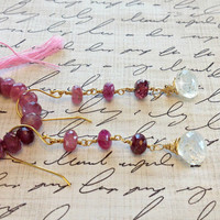 Ombre Rubellite Tourmaline and Rutilated Gold Quartz earrings on 18k Gold Vermeil.