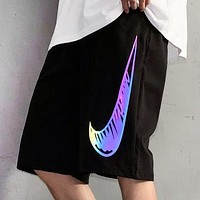 NIKE Summer New Fashion Hook Print Laser Reflection Shorts Black