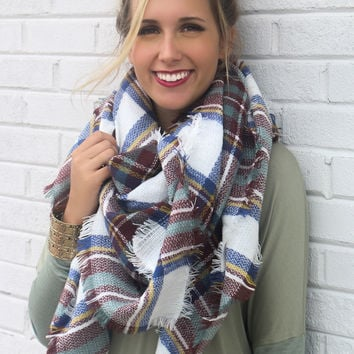 Keep Me Close Oversized Knit Brown Plaid Blanket Scarf With Frayed Edges