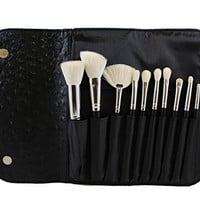 Morphe 10 Piece Deluxe Brush Set w/ Ostrich Skin Snap Case -Set 692