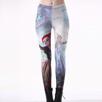 New Arrival 3185 Sexy Girl Women white Red Queen Alice In Wonderland 3D Prints Elastic Fitness Polyester Walking Leggings Pants