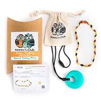 Baltic Amber Teething Necklace for Babies - Lab-Tested - Silicone Teething Necklace Gift Set - 3 Sizes - 5 Colors