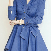 Blue V-Neck Long Sleeve Mini Denim Dress