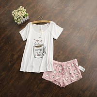 Cute pajamas sets with white and pink /grey and green color coffee cups printed women pajama sets hot selling