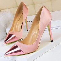 Fashionable simple high-heeled shallow mouth satin stitching pointed sexy nightclub was thin high heels shoes pink