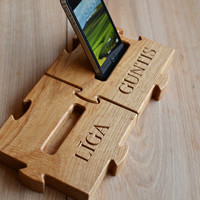 Personalized Wooden Mobile Phone Stand, Custom iPhone Dock, Rustic Oak Cell Phone Holder, Wood 5th Anniversary and Valentine Day Gift