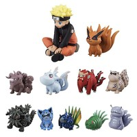 Naruto Sasauke ninja 11pcs/set Anime  Figure Q Version Nine Tail  Childhood Tail Box Egg Action Figure Toys For Kids #E AT_81_8