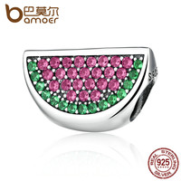 BAMOER Lovely 925 Sterling Silver Pave Watermelon Red & Green CZ Charm fit Bracelets & Bangles Women Accessories PAS345