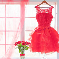 2015 short red tulle and lace prom dresses hot,affordable women gowns for holiday party,stunning chic homecoming dress in stock.