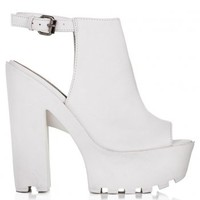 JORCA Block Heel Cleated Sole Platform Shoes - White Leather Style