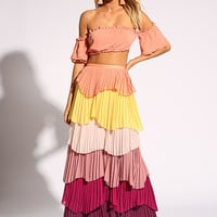 Multi Tiered Pleated Maxi Skirt