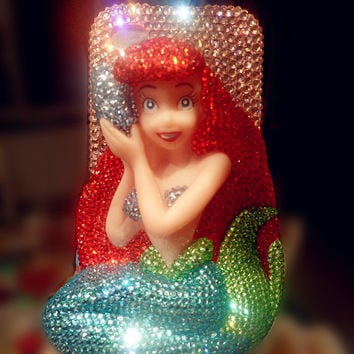 Bling 3D Mermaid Ariel  Princess iPhone Cases, Cute Cell Phone Case, Swarovksi iPhone 5 Case, Disney iPhone 4/4s Case, Galaxy s3 case