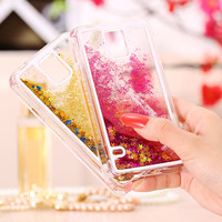 For Galaxy S5 Luxury Transparent Liquid Quicksand Bling Glitter Star Case for Samsung S5 i9600 Ultra Thin Slim Hard Back Cover
