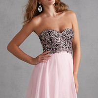 Night Moves 7207 - Black/Pink Strapless Chiffon Homecoming Dresses Online
