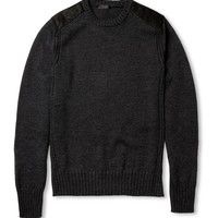 PRODUCT - Belstaff - Suede-Trimmed Wool Sweater - 373910 | MR PORTER
