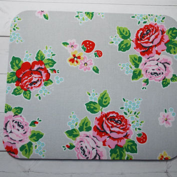 Mouse Pad mouse pad / Mat -  rose and strawberries  -  round or rectangle - office accessories desk home decor