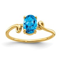 14K Yellow Gold 7x5mm Oval Blue Topaz ring
