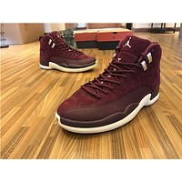 "Air Jordan 12 ""Bordeaux"" Wine red Basketball Shoes 36-47"