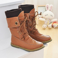 New arrival boots 2015 winter spring autumn fashion hot sale Half Knee High Boots for Women Fashion Motorcycle Boots Women Snow Shoes Boots Big size 34-43 on sale = 1945804356