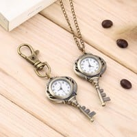 OUTAD Vintage Antique Stainless Steel Quartz Pocket Watch Key Shaped Pendant Watch Key Chain Unisex Gift