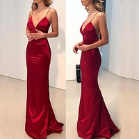 Fashion casual Bridesmaid Dress Sexy suspender dress
