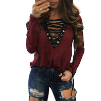 Sexy Holes T Shirt Women Fashion Sexy V-Neck Long Sleeve Ripped Bandage Tops T-Shirts Casual Women Tops Tees Plus Size GV585