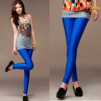 New Womens Bright Color Solid Pants Sexy Fitted Pencil Legging
