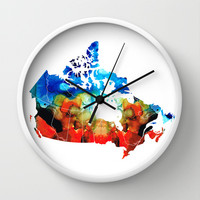 Canada - Canadian Map By Sharon Cummings Wall Clock by Sharon Cummings