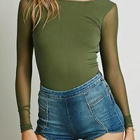 Army Green Plain Backless Round Neck Long Sleeve T-Shirt