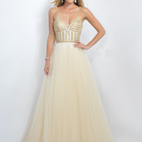 Embellished Bustier Bodice Prom Ball Gown by Blush Pink 5526