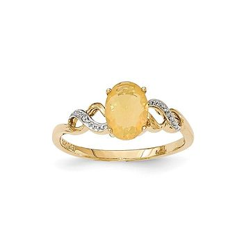 14K Yellow Gold Opal and Real Diamond Ring