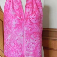 Crepe silk scarf with fringe, hand dyed shades of strawberry pink, ready to ship, #400