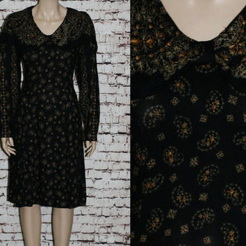 80s Maxi Dress Long Sleeves Rayon black Paisely Grunge Hipster Boho Festival 90s Peter Pan Collar  S M