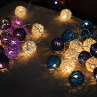 2 set of blue shaded and purple shaded color rattan ball string light hanging bedroom patio garland display night