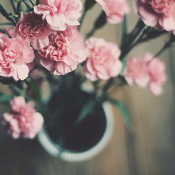 Carnations photograph- pink, flowers, floral, vase, spring, nursery decor, girly, romantic,still life,  fine art photograph, 8x10 print