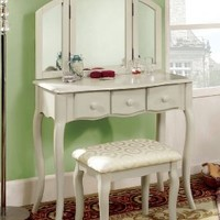 Furniture of America Fairfield Classic Style Vanity and Stool Set, Cream White:Amazon:Home & Kitchen
