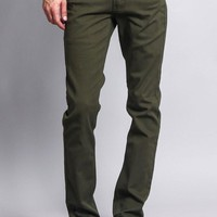 Men's Skinny Fit Colored Jeans (Olive)