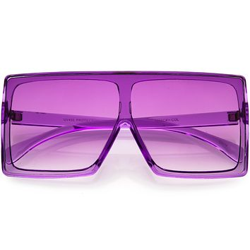 Bold Colored Tinted Lens Translucent Flat Top Oversize Shield Sunglasses D109