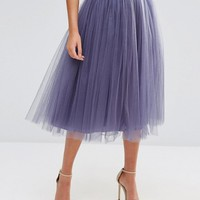 Little Mistress Tulle Midi Prom Skirt at asos.com