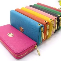 Hot sale excellent quality PU leather women copper zipper purse wallet, lady clutch bags purse 5 colors = 1753273924