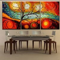 Colorful Tree Modern Abstract 100% Hand Painted Oil Painting on Canvas Wall Art Decor home wall pictures for bedroom ( No Frame)