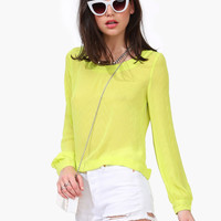 Zipper-Back Long Sleeve Chiffon Boulse