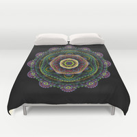 Surreal fractal 3D mandala on a black background Duvet Cover by Natalia Bykova