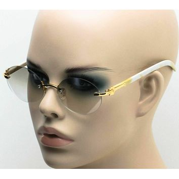 Vintage Style 90s Rimless Oval Eye Glasses with Wood Buffs