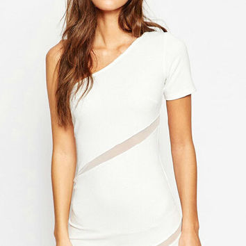 White One-Shoulder Mesh Panel Dress
