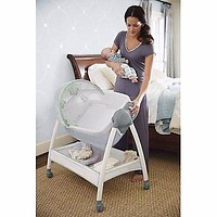 Portable Baby Bassinet and Diaper Changer Station with Canopy and Wheels